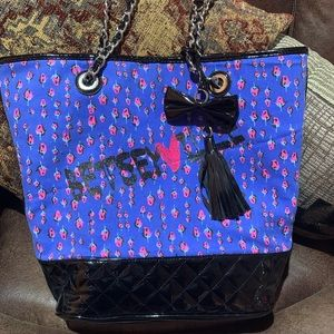 Betsey Johnson Betseyville Blue Floral Rose Tote